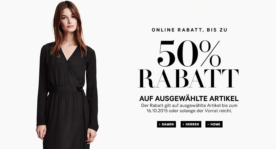 H&M: Bis zu 50% Rabatt auf ausgewählte Artikel - nur bis zum 16. Oktober