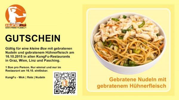 KungFu: Kleine Box gebratene Nudeln mit Hühnerfleisch komplett kostenlos! - Nur am 16. Oktober