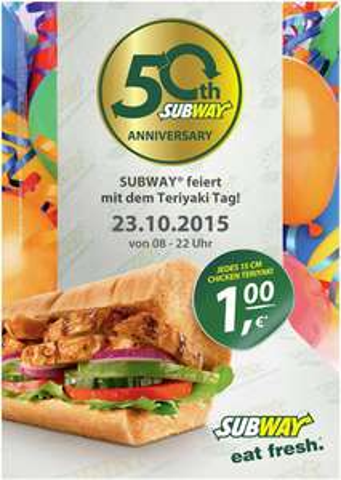 Subway: Chicken Teriyaki Sandwich (15cm) für 1€! - Nur am 23. Oktober