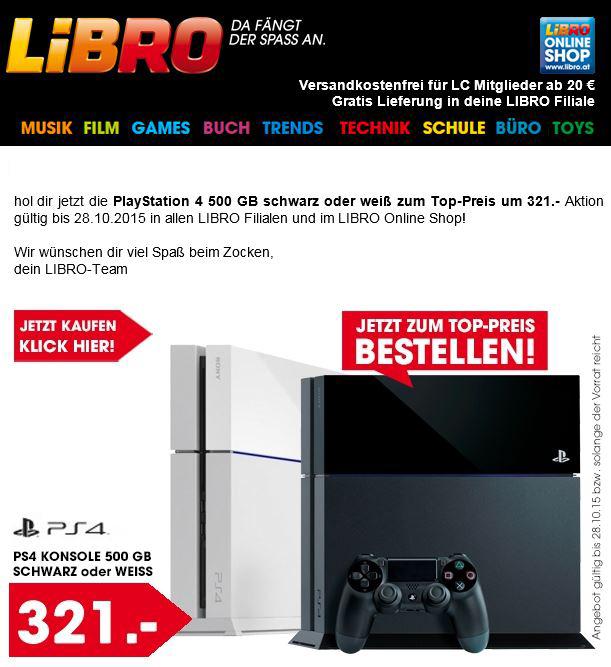 jetzt auch bei Libro: PS4 500GB um 316,-