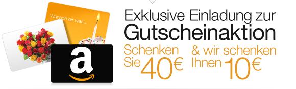 Amazon.de: 40 € Gutschein kaufen + 10 € Gutschein geschenkt - 20% sparen