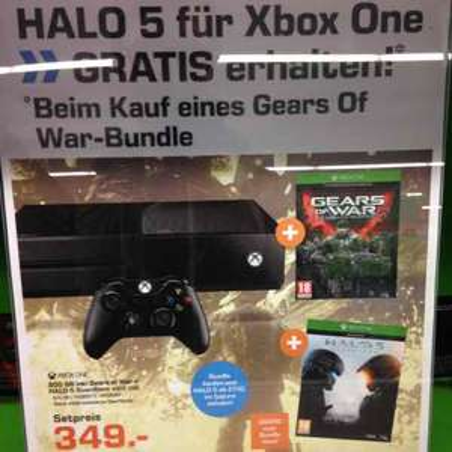 Halo 5 gratis bei Kauf eines XB1 Gears Of War Bundle bei Saturn Salzburg Europark.