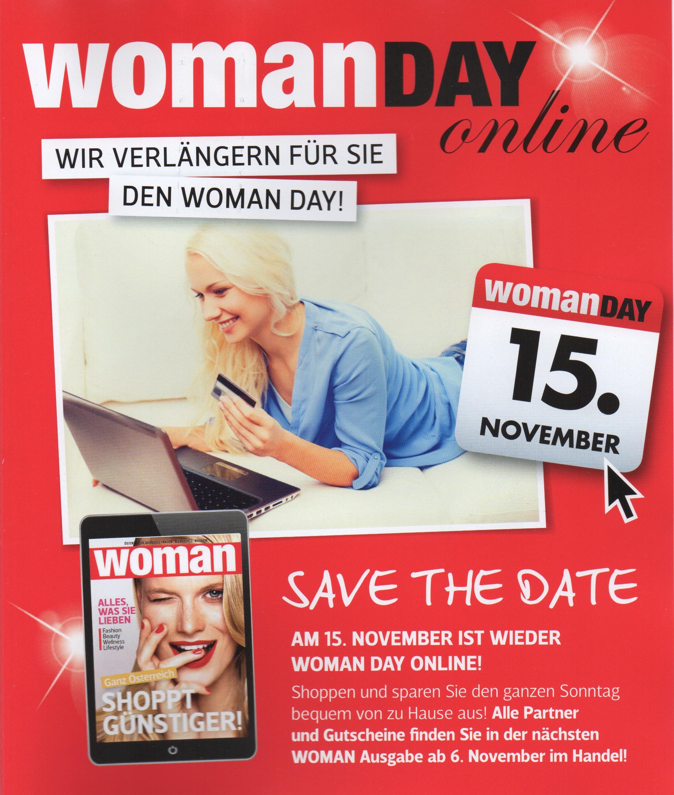 Woman Day Online am 15. November 2015 mit vielen Angeboten bei div. Online-Shops