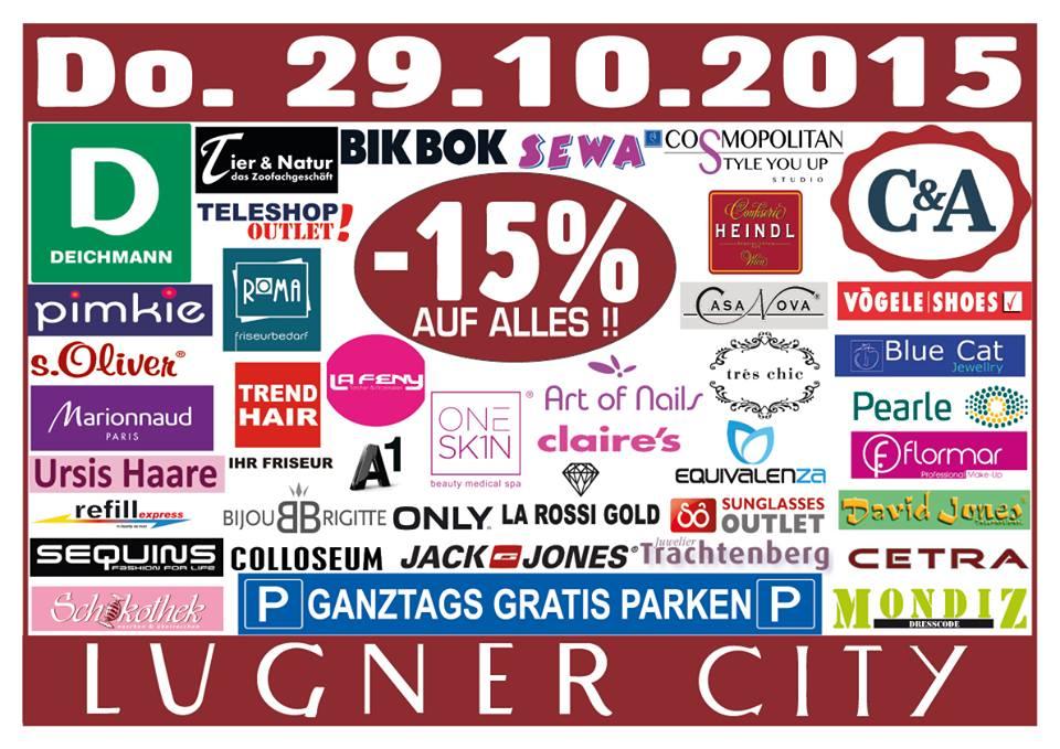 Lugner City - 15% auf Alles / ganztags gratis Parken / nur am 29.10.2015