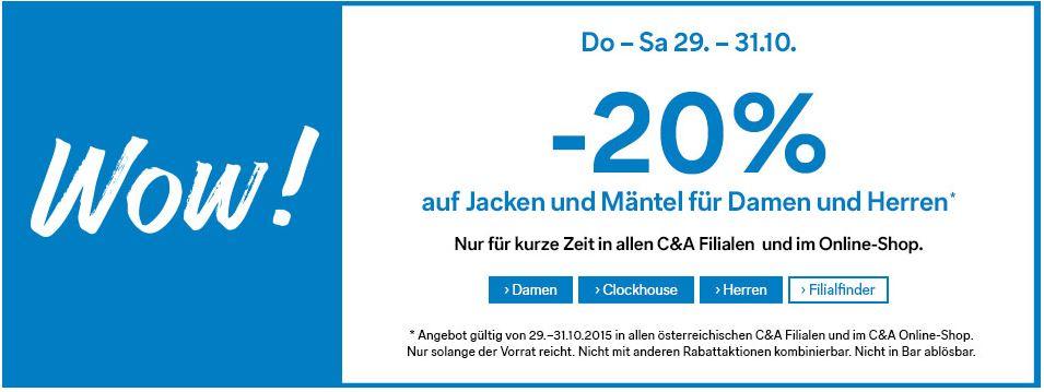 [C&A] -20% auf Mantel und Jäcken - online und offline!