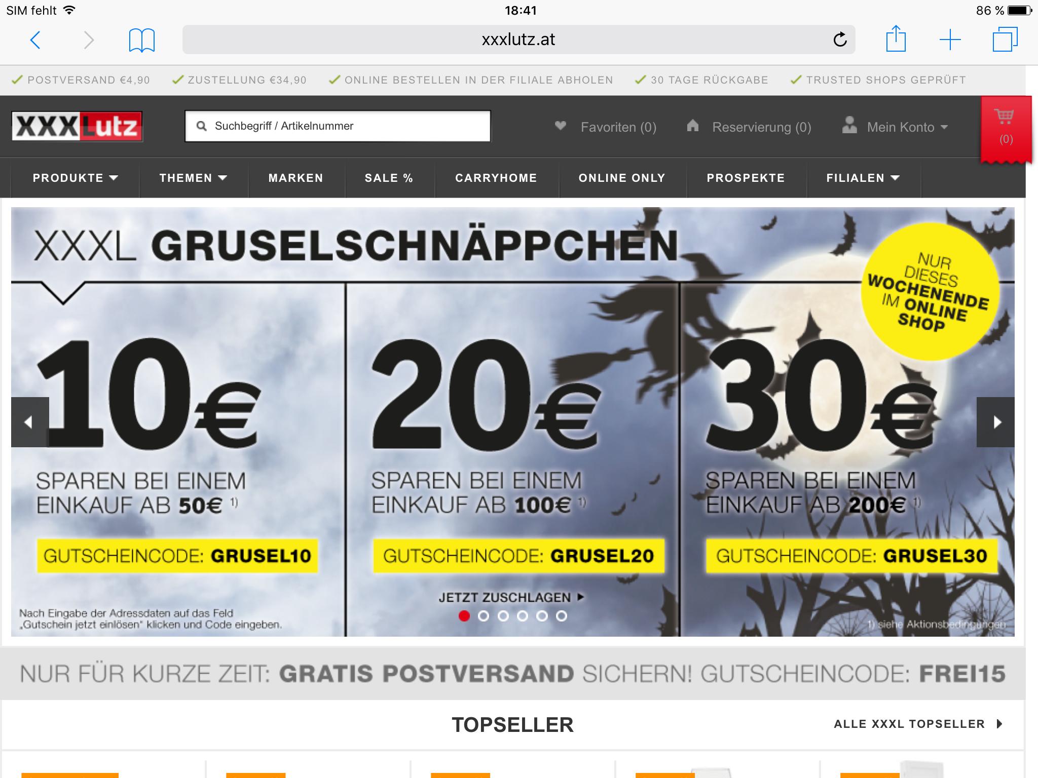 XXXLutz: Halloween Gutscheine mit bis zu 30€ Rabatt