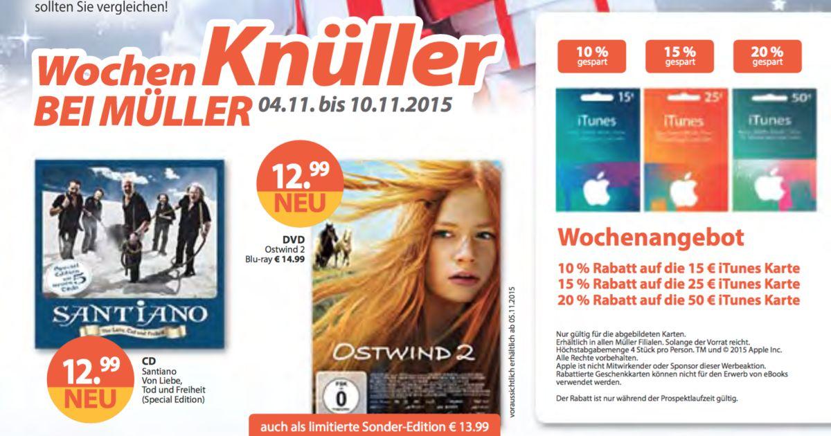 Bis zu -20% auf iTunes Karten bei Müller