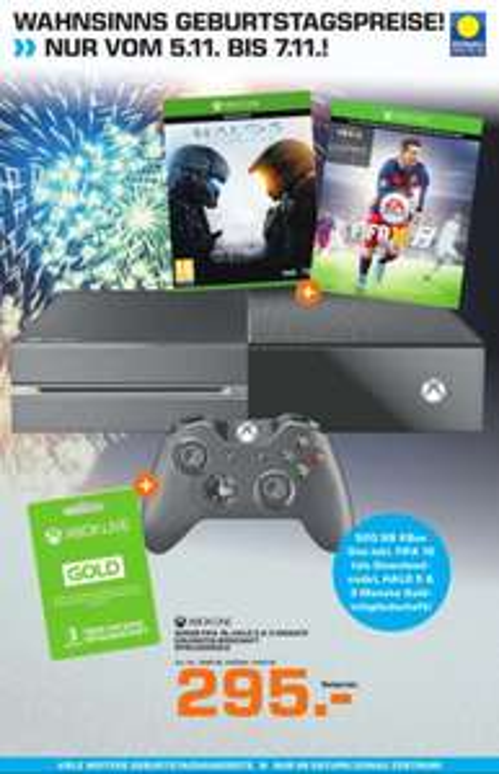 XBOX ONE + HALO 5 + FIFA 16 + 3 Monate Gold um 295,-