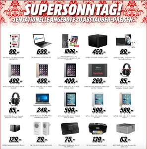 [Media Markt] SuperSonntag – WD Red 3TB 99€, Synology DS415+ NAS 459€, iPad Air2 64 & 128GB ab 499€, 960GB Sandisk SSD 269€, Notebooks, PC, uvm.