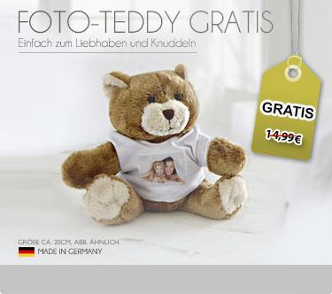 Gratis: Plüsch-Teddy mit eigenem Foto (+3,99€ Versand)