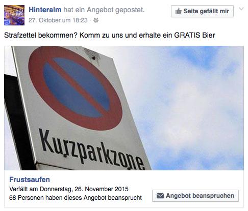 1 Gratis Getränk bei Parkstrafe in Wien - Hinteralm Frustsaufen - bis 26.11.2015
