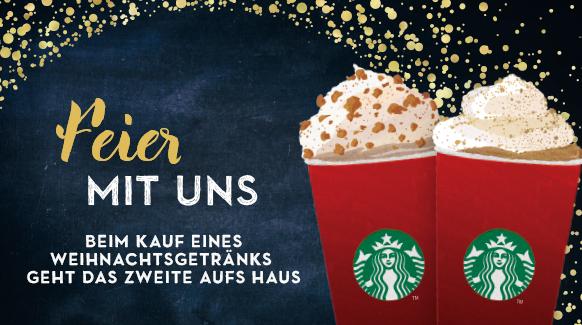 Starbucks - 1+1 Gratis Weihnachts-Getränke - bis 16.11.2015