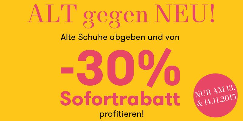 -30% Sofortrabatt auf Schuhe bei Vögele 13. und 14.November 2015