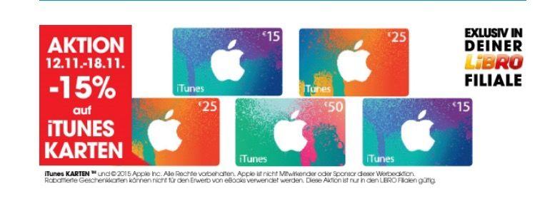 -15% auf iTunes Karten bei Libro (bis 18.11)