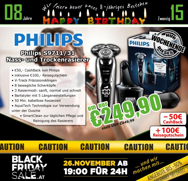 0815.at: Philips S9711/31 SmartClean Pro Herrenrasierer für 249€ + 50€ Cashback