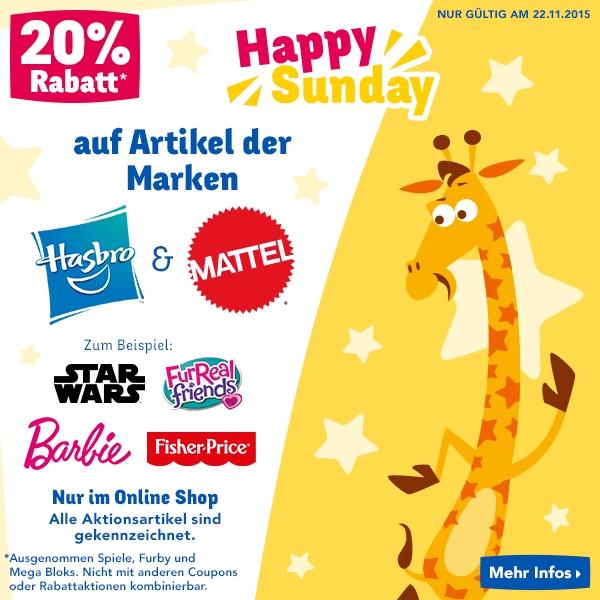 ToysRus: 20% Rabatt auf Artikel der Marken Hasbro und Mattel - nur heute gültig!