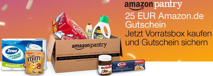 Amazon 25 EUR Amazon.de Gutschein beim Kauf der vorgepackten Pantry Vorratsbox & mit Gutschein Code GRATIS Lieferung