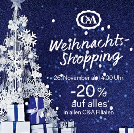 C&A: 20% Rabatt auf alles am 26. November ab 14:00 Uhr