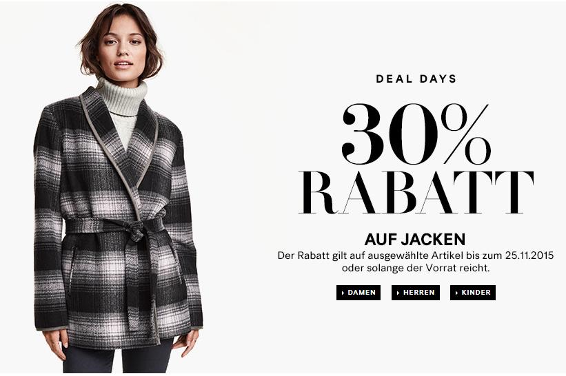 H&M: -30% auf Jacken!