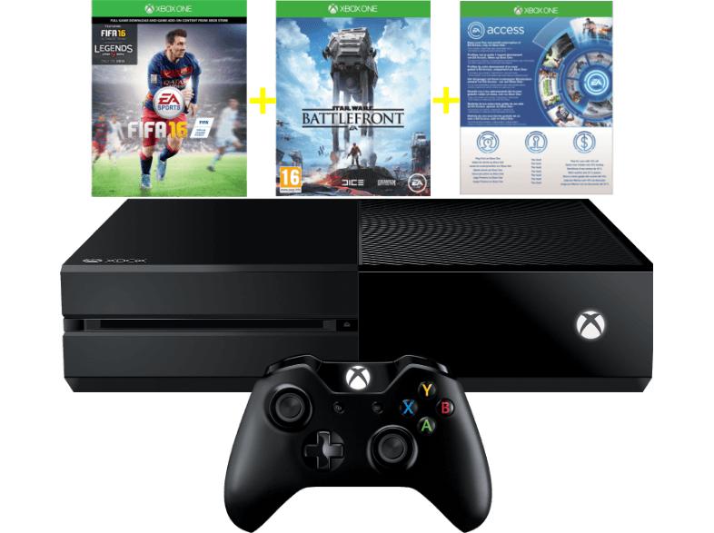 Saturn & MediaMarkt: Xbox One 500GB inkl. FIFA 16 (download Code) + Star Wars Battlefront + 1 Monat EA Access gratis ab €294,-