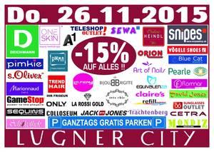 Lugner City - 15% auf Alles / ganztags gratis Parken / nur am 26.11.2015