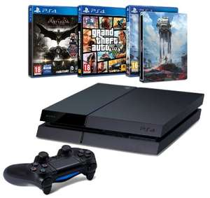 [Amazon.fr] PS4 Mega Bundle! Playstation 4 (500 GB) + Star Wars Battlefront (Steelbook) + GTA V + Batman Arkham Knight für 353€ - Black Friday