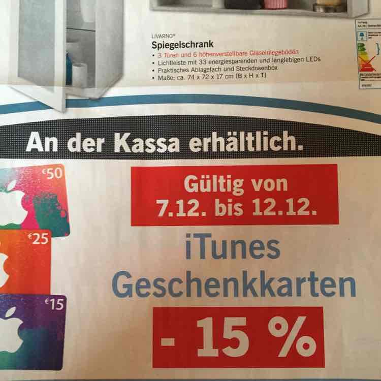 Lidl - 15% Rabatt auf iTunes Geschenkkarten - 7.12-12.12.2015