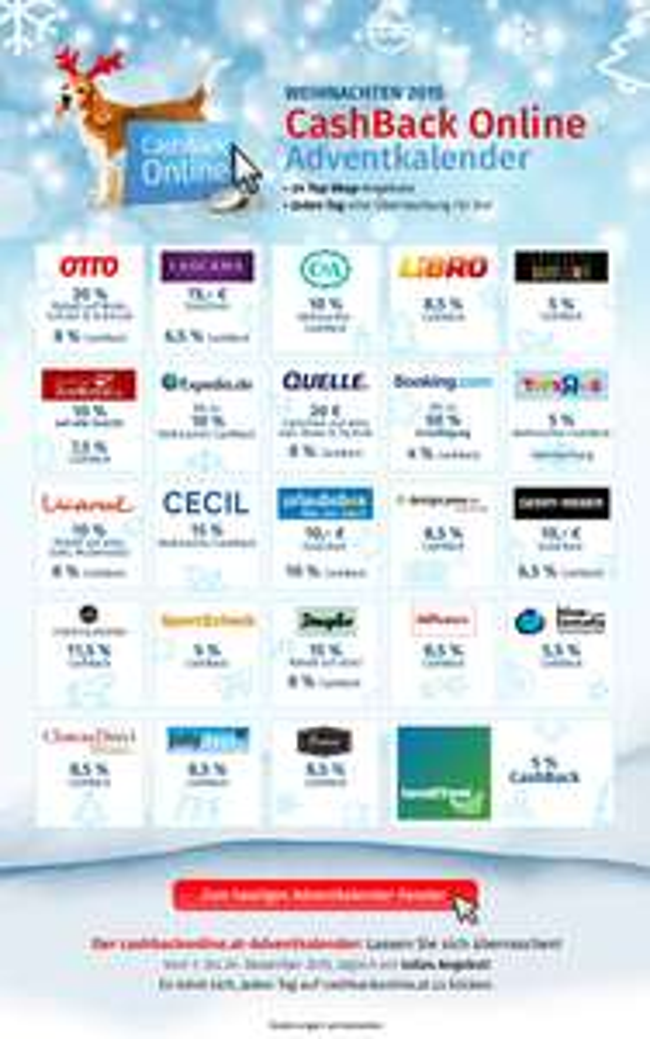 Bank Austria CashBack Online Adventkalender - u.a. mit 8,5% CashBack bei Libro