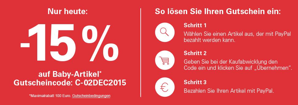 [Ebay.de] -15% auf alle Baby-Artikel nur heute 02.12.2015