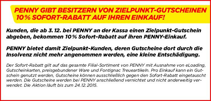 -10% Rabatt bei Penny bei Vorlage von Zielpunkt Gutscheinen