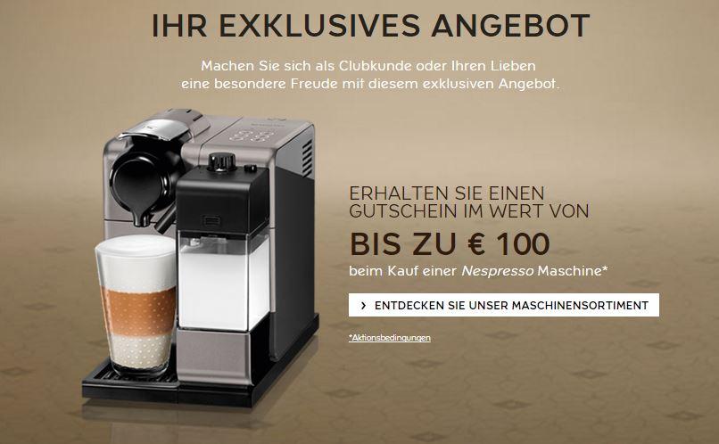 Bis zu € 100 Kapselgutschein  beim Kauf einer Nespresso Maschine