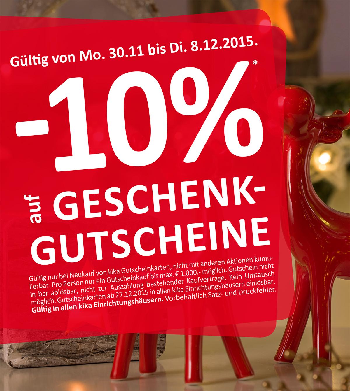 -10% auf KIKA Gutscheinkarten - bis 8.12.2015