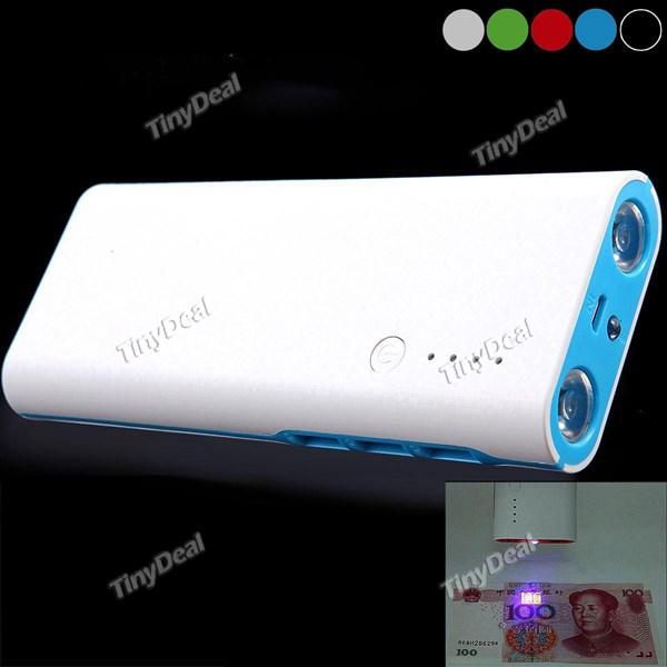 Tragbares Ladegerät 20000mAh 3 USB Ports Power Bank + Flashlight/UV Licht für Smartphone Tablet bei tinydeal