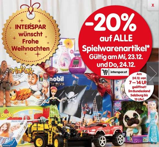 Interspar: 20% Rabatt auf Spielwarenartikel - nur am 23. und 24. Dezember