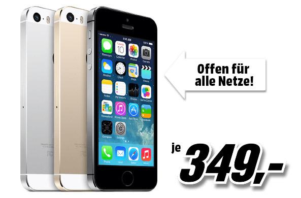 Apple iPhone 5s 16GB space grey/white @ MediaMarkt Frühshoppen
