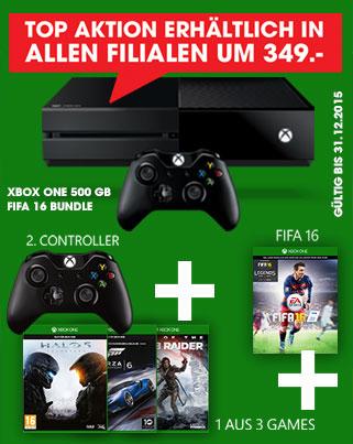 Libro: Xbox One (500GB) + 2. Controller + FIFA 16 + Halo 5 oder Forza 6 oder Rise of the Tomb Raider für 349€