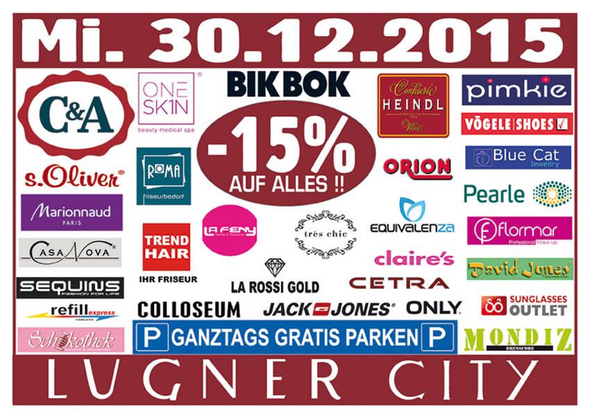 Lugner City: 15% Rabatt in vielen Shops + ganztags gratis Parken - nur am 30. Dezember