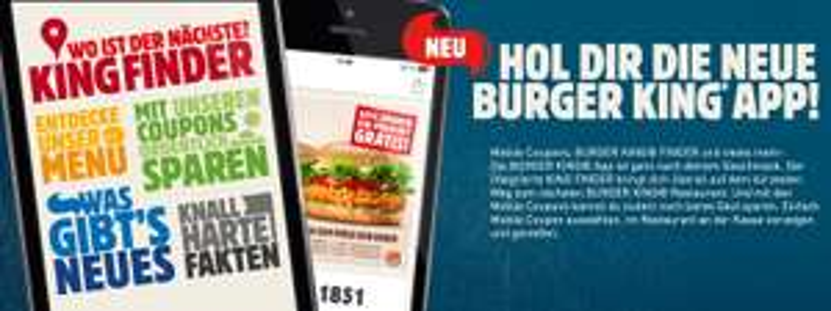 Neue Coupons für die Burger King APP, gültig bis 29.2.2016