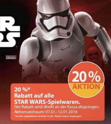 Müller: 20% Rabatt auf alle Star Wars Spielwarenartikel - vom 7.1 bis zum 12.1
