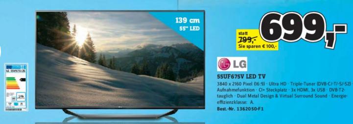 [Conrad] LG Electronics 55UF675V um nur 699€