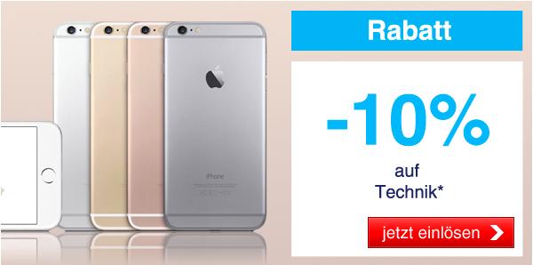 Quelle: 10% Rabatt auf Technik inkl. Apple Produkte - nur heute gültig!