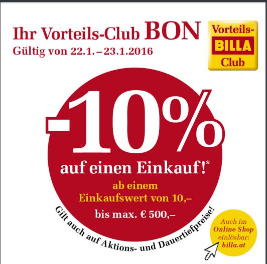 Billa 10% Rabatt-Bon auf einen Einkauf (22.01 bis 23.01)