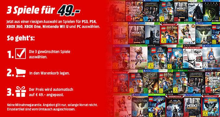 3 Games für 49 € bei Mediamarkt