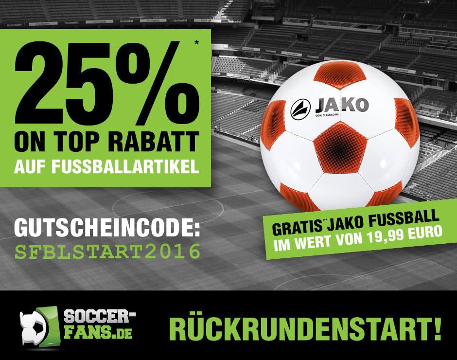 25% Rabatt auf alle Fußballartikel (auch auf bereits reduzierte) + GRATIS JAKO Fußball (ab 119 € Rechnungsbetrag)