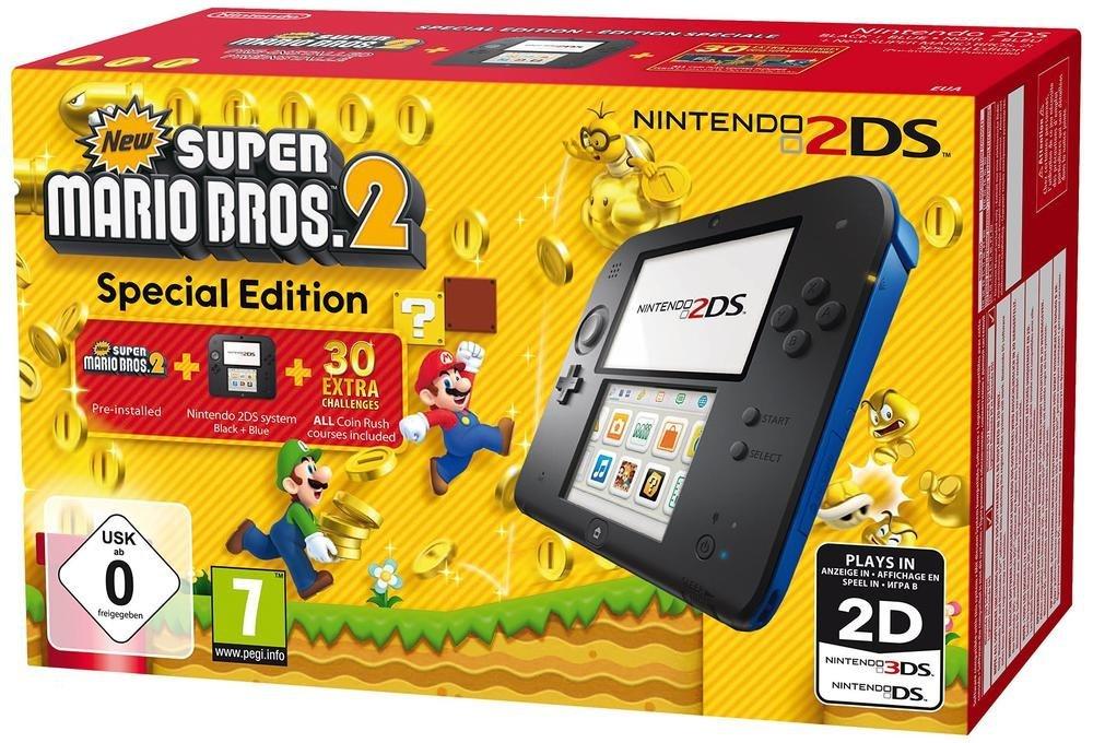Saturn: Nintendo 2DS Grundgerät, New Super Mario Bros. 2 Special Edition Bundle + Tasche für 66€