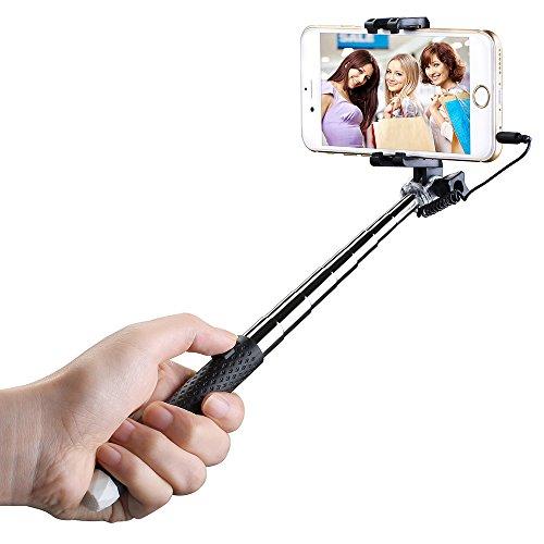 -30 % Mini-Selfie-Stick, ausziehbar, Einbeinstativ mit 3.5 mm Wire Anschluss für iPhone 6 s Plus 6 5 s S6 S5 Samsung Galaxy, usw.(Schwarz) bei Amazon