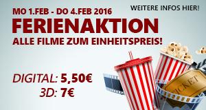 Lugner Kino Ferienaktion - vom 1. bis zum 4. Februar fast alle Filme für 5,50€ (3D für 7€)