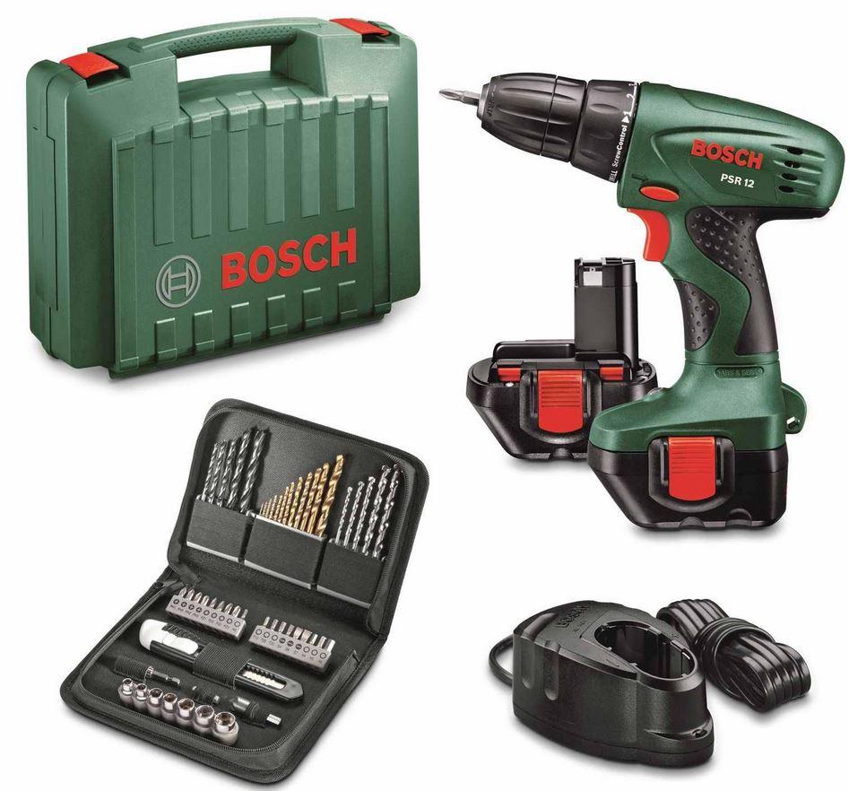 Bosch PSR 12 – 2 Gang Akku Bohrschrauber + Zubehör + Koffer für 79,99€