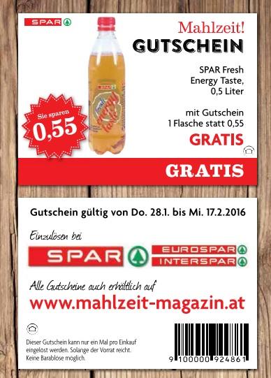 0,5 Liter Spar Fresh Energy Taste kostenlos