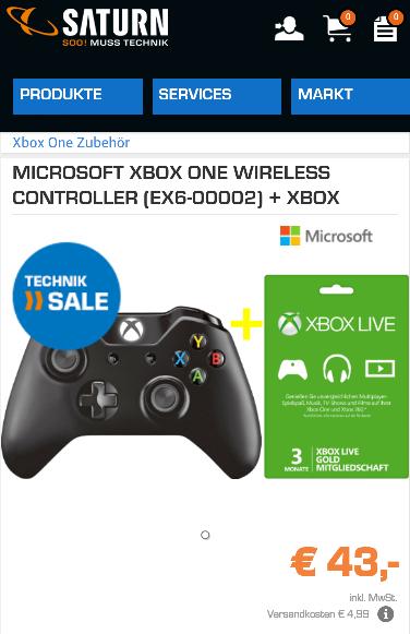 Xbox One Controller + 3 Monate Xbox Live